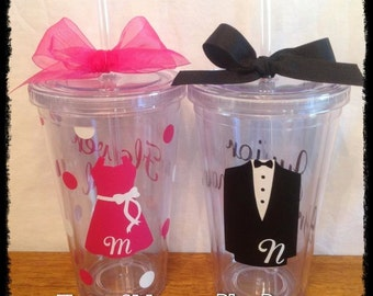 Custom RING BEARER or FLOWER Girl Tumbler with Tuxedo or Dress & Initial Wedding Jr. Groomsman Bridesmaid