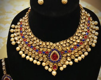 Jewelry, Necklace kundan stone set with earrings and head pasa