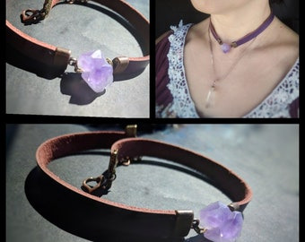 Purple raw Amethyst double points crystal leather chocker necklace