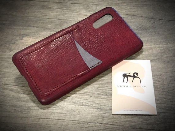 Huawei P20 PRO Leather Case 3 Credit Card Slots handmade in Italy CHOOSE body and accent color