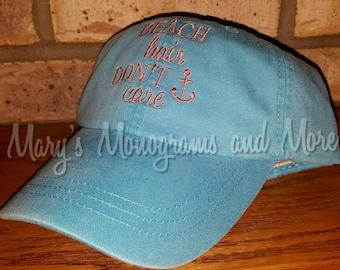 Embroidered Beach Hair Don't Care Baseball Hat - Beach Hair Ball Cap - Distressed Messy Hair Hat