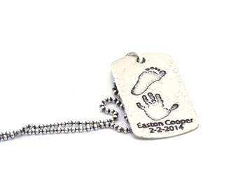 Custom Print Dog Tag | Personalized Dog Tag | Gift for Parent | Handprint Jewelry | Footprint Pendant | Gift for Dad | One Day Shipping