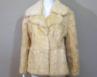 DINO RICCO Blonde Rabbit Fur Coat Size Large L