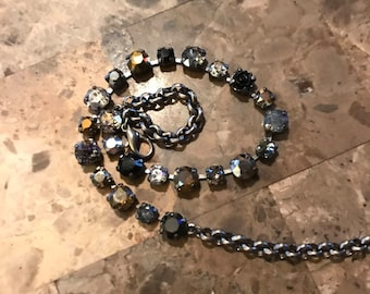 8mm and 6mm cup chain Swarovski Crystal Necklace in blacks,browns, and golds with a rose accent