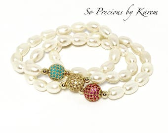 Color cz ball with rice pearls