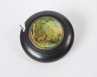 Vintage Retractable Small Tape Measure with Deer Fawns Image - One Meter Cloth Tape