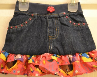 Upcycled jean skirt in Doc Mc Stuffins print