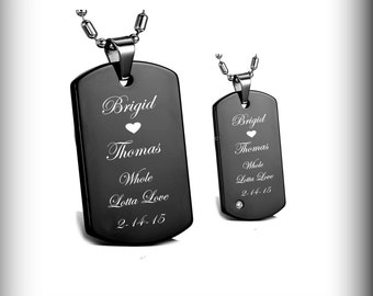 Custom Dog Tags, Personalized Dog Tags, High Polished Black His & Hers Dog Tag Necklace Set Engraved Free, Engraved Dog Tag, Couples Jewelry