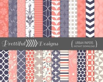 Urban Digital Paper Pack Pattern Backgrounds Cobalt Coral Taupe