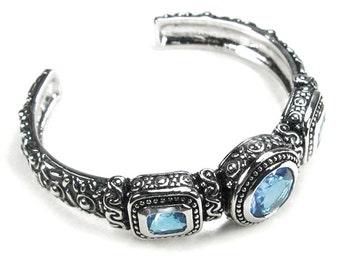 Fancy Blue Quartz Sterling Silver Cuff Bracelet