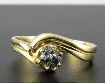 14K Yellow Gold Wedding Ring Set - Engagement Ring with Black Rough Diamond - Swirl Design Ring and Band - April Birthstone
