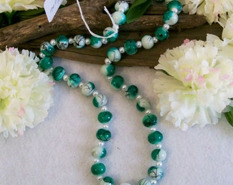 """Green Swirl Glass BEad Necklace  with Pearl Spacer BEads, 24"""" Long, handmade jewelry, Handmade Necklace, Made in the USA, #106"""