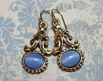 Victorian Style Blue Moonstone Earrings, Blue Moonstone, Victorian Earrings, Antique Style, Vintage Style, Dangle Earrings, Gold Finish