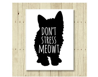 Funny Cat Magnet, Refrigerator Magnet, Cat Lover Gift, Gift Under 10, Cat Pun, Small Gift, Don't Stress Meowt, Gift For Cat Lady, Black Cat