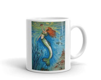 Treasures of the Sea Original Mermaid Art Coffee Mug