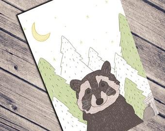 Funny Birthday Card | Cute Greeting Card | Raccoon Animal Card