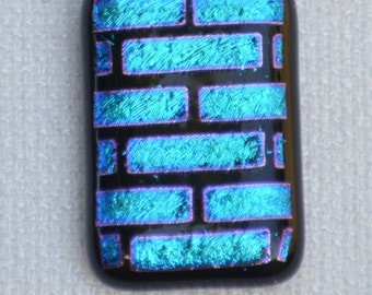 Dichroic Fused Glass Necklace, Dichroic Fused Glass Pendant, 18 inch necklace, Black and Blue Dichroic Fused Glass Necklace