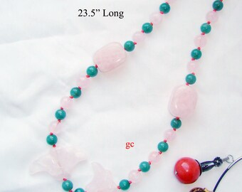 Pink Rose Quartz and Green Jade Necklace