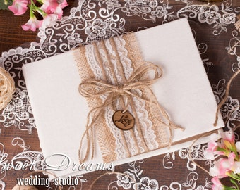 Rustic Wedding Guest Book, Burlap and Lace Wedding Guest Book, Wedding Guest Book, Guest Book, Guest Book Wedding, Wedding gift, Guestbook