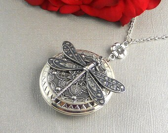 Sale Large Dragonfly Locket, Locket Necklace,  Silver Large Locket, Large Dragonfly, Filigree Locket
