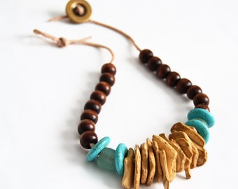 WOOD CHIP Turquoise Rhondelle Aqua African Glass Leather and Button Clasp Necklace
