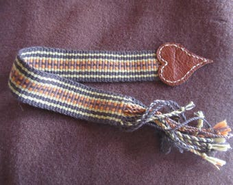 Handwoven Cotton and Leather Bookmark