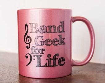 Bande de Geek pour la vie musicien une tasse de café 11 oz rose