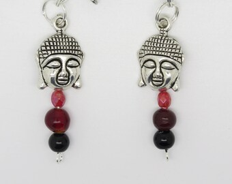 pair of CLIP earrings or ear breakthrough gift MOM, girlfriend, for self same Buddha head.
