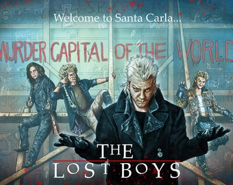"""The Lost Boys 30th tribute illustration A3 print """"Welcome to Santa Carla"""" BLUE"""