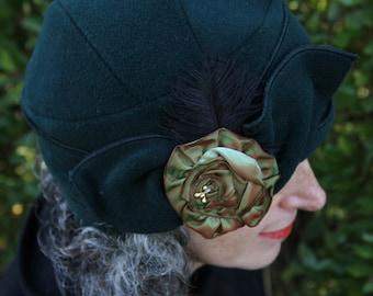 Flapper Hat - Polar Fleece Turban Cloche - Forest Green - Eloise