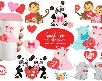 Valentine jungle critters clipart, valentine clipart, Valentine clip art,  commercial use, vector, digital clip art, AMB-596