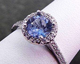 AAAAA Natural Untreated 6mm Round  Blue Santa Maria Aquamarine (0.92ct) 18K white gold Halo ring .35 carats of diamonds MMM