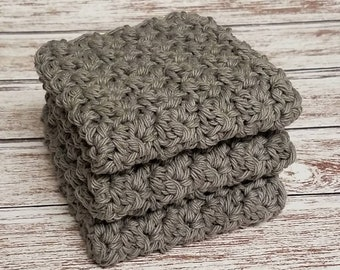 Crochet dishcloths washcloths Charcoal Gray Dish Cloths washcloths Handmade Set of 3 Cotton Kitchen Dishcloths  Housewarming Gift