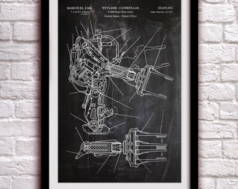 Aliens - Power Loader - Fantasy Art Patent - Patent Print Poster Wall Decor - 0131