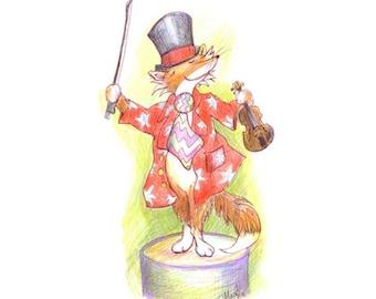 Watercolour Pencil Drawing of Fox & Violin - British Art Print – New Baby Gift – Music Lover Print – Cute -Whimsical Art #0762