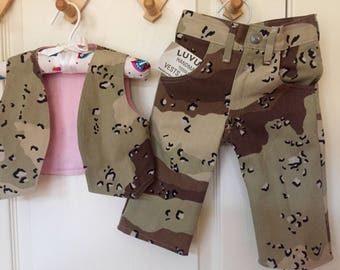 Handmade NWT Camouflage Print Infant Vest and Pant Set