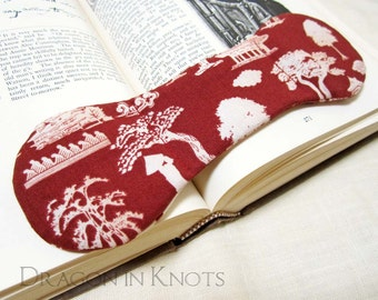 Book Lovers Gift - Book Weight - Pagoda, Trees, Crane, Japanese, Korean, Asian theme Page Holder, Brick Red and Ecru book accessory