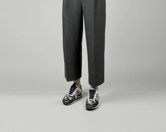 High waist pants Women pants Women's trousers Dark grey pants Dark grey trousers Women culottes High waist culottes Grey culottes Wool pants