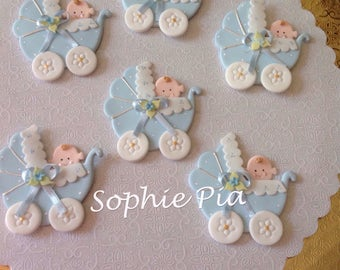 Baby carriage cupcake decoration. Baby shower decoration . Cake decoration . Baby shower carriage cake topper .Baby carriage decoration