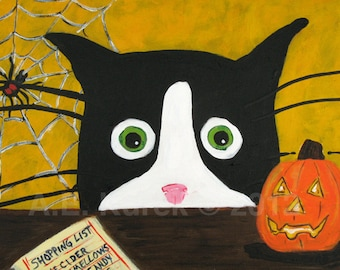 Halloween Cat - Halloween Cat Print - Silent Mylo Tuxedo Cat with Spider and Jack-o-lantern - 5x7 print - gift for cat lover - cat art