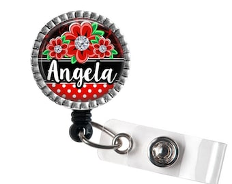Nurse Badge Reel, Floral Identification Badge Holder, Custom Name ID badge