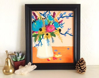 Floral Bouquet Painting print 8 x 10, Peach and Turquiose Flower Acrylic Art