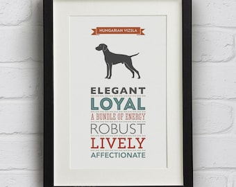 Hungarian Vizsla Dog Breed Traits Print