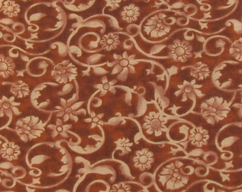 SALE, 3.99!! Brown Flowers and Scrolls Fabric By the Yard