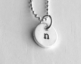 Initial Necklace, Initial Jewelry, Initial Pendant, Sterling Silver Jewelry, Charm Necklace, n, 925, All Letters Avail., Initial Charm