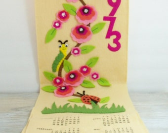 Vintage 1973 Wall Calendar Ladybugs Flowers Felt Sequins Made from Kit