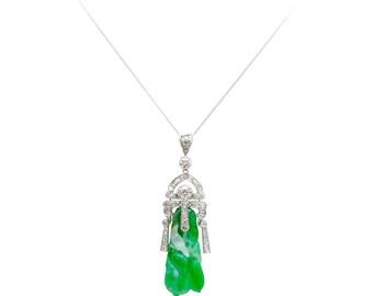 Art deco pendant etsy vintage carved jade 2 carat diamond platinum art deco pendant necklace audiocablefo