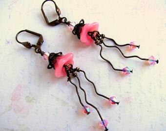 Pink Glass Flower Earrings, Pink Earrings, Swarovski Earrings, Flower Earrings, Vintaj Brass Earrings, Dangle Earrings, Glass Flower Earring