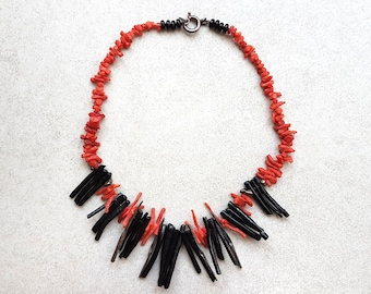 Coral Necklace - Red Coral Necklace - Black Coral Necklace - Coral Jewelry - Natural Coral - Red Necklace - Statement Necklace