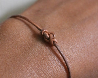 Bracelet Infinity 01 Gold Leather Handmade - Eternity (B201GD-L)